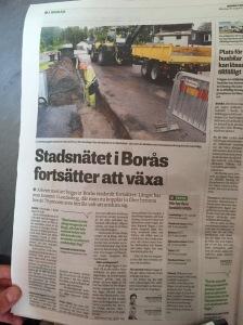 När Borås Tidning 31 augusti skrev om Borås Stadsnäts fibersatsning var vårt hus med på bilden, längst upp till höger