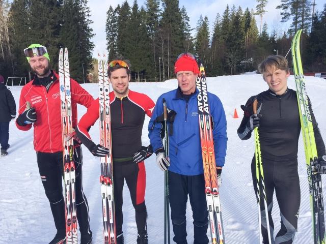 Från vänster Samuel Norlén (2:a), Robert Malmgren (1:a), Lennart Larsson (3:a) och Olle Häggdahl (4:a).