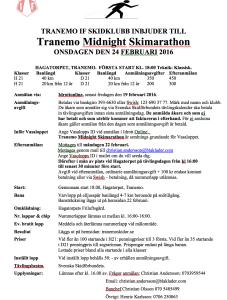 Långlopp i Tranemo 24 feb i elljus. Nytt lopp på 40 km.