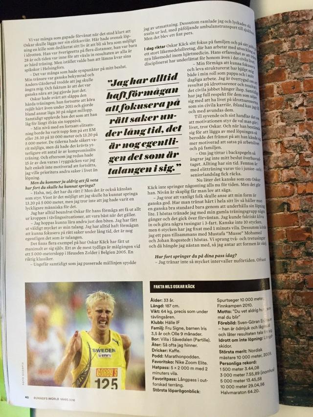 En av sidorna i artikeln om Oskar Käck i det aktuella numret av Runners World.