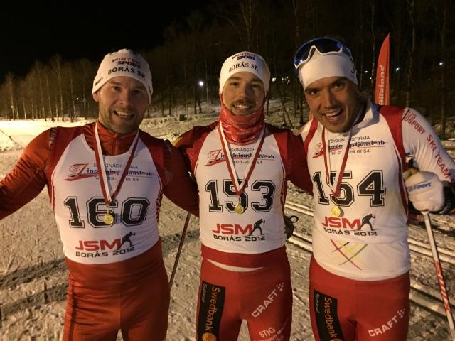Borås SK KM 2016. Fr v Jonas Hagberg (3:a), Daniel Abrahamsson (1:a), Rickard Bergengren (2:a)