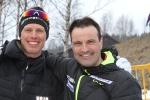 Teemu Virtanen och Erik Wickström. Teemu haltade lite den dagen, ett drygt dygn efter 24-timmars. Han kommenterade sändningen av Årefjällsloppet på nätet.