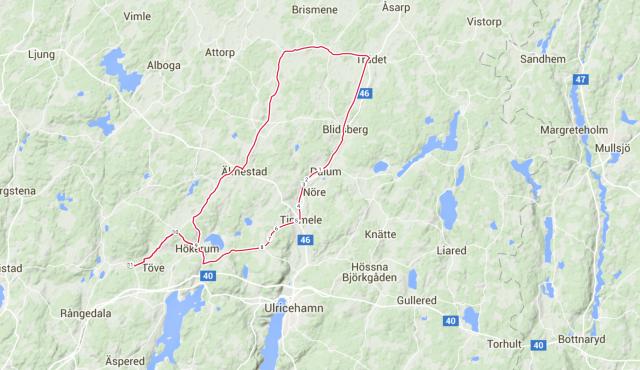 Så här såg turen ut. 69.95 km och 465 höjdmeter. Kul med några nya vägar för mig.