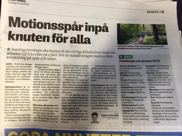 Läste i Borås Tidning idag om att det blir förbättringar på motionsspåren och lederna. Bra Borås stad!