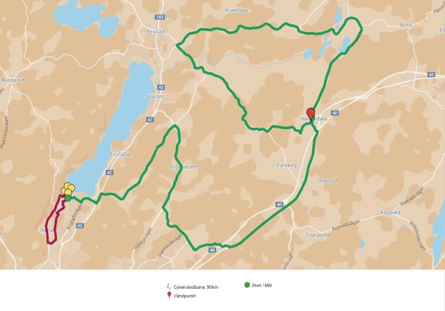 Borås Triathlon karta. Grön cykling, röd löpning.