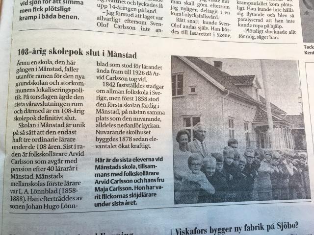 """Tre lärare på 108 år. Hatten av. Visst finns även nackdelar med låg personalomsättning, men jag har någon sorts fäbless för den här typen av långsiktighet. Från Borås Tidning eminenta sida """"För 50 år sedan"""" som kommer varje helg."""