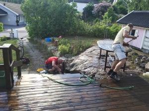 Tobias Magnusson och Martin Josefsson hjälper till med utefix. Jättetack!