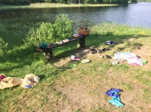 Det blev två dopp igår. Vi drog med familjen och badade i Hälasjön och åt medhavd middag. I Hälasjön prövade jag SUP för första gången, för två år sedan. F ö klart underskattad badplats.