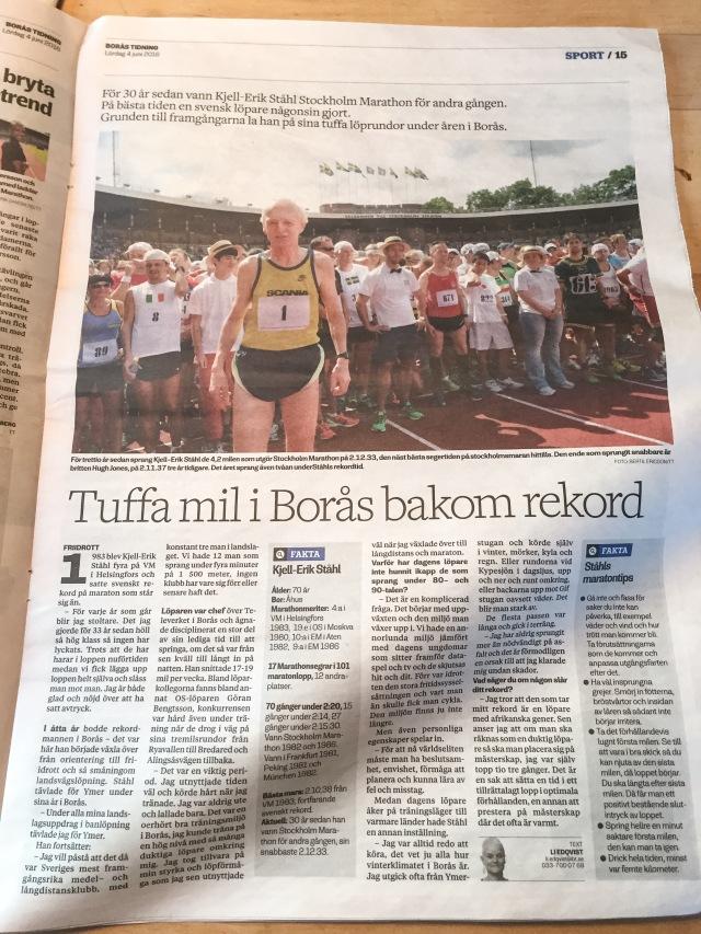 Kjell-Erik Ståhl i Borås Tidning lördag 4 juni