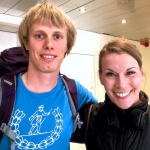 Petra Månström och jag efter intervjun i Maratonpodden som gjordes i 19 maj i Stockholm, innan jag gav en föreläsning på Swedbank.