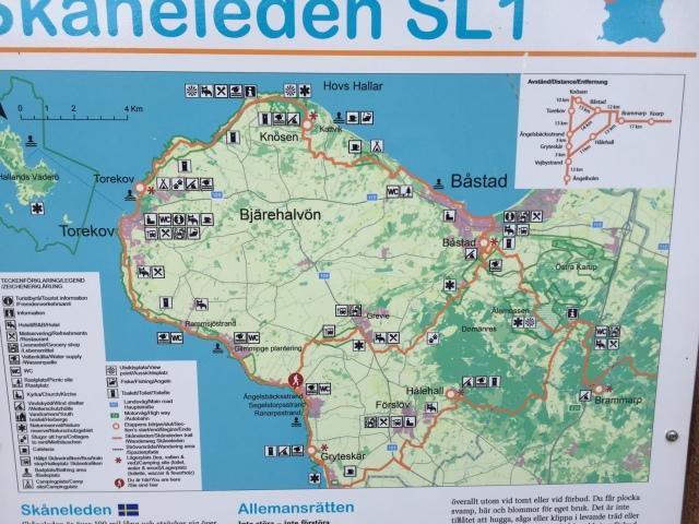 Karta Skåneleden Bjärehalvön