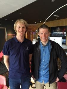 Petter Eliassen och jag vid Gardemoen flygplats i Norge 7 maj 2015