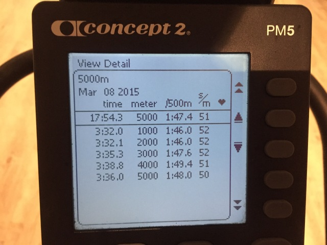 5000 m SkiErg på tid, displaybild
