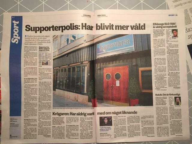Idag hade det blivit ett ordentligt tryckfel i Borås Tidning. Ett antal personer hade bråkat men så hade artiklarna hamnat på sportsidorna istället för nyhetssidorna. Konstigit att ingen upptäckte det misstaget. Jag är f ö väldigt glad över att Borås Tidning kommer i brevlådan på morgonen. Det är lätt värt de 2784 kr som det kostar varje år. Länge leva papperstidningen.