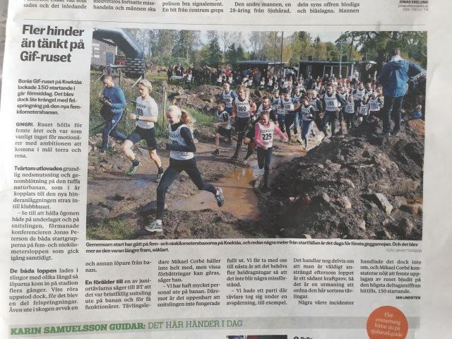 Borås Tidning dagen efter lopp. På bild, men ej i texten.