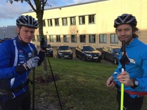 Johan Högstrand och Dan Kuylenstierna. Dan åker 2-3 rullskidspass per vecka även när han inte är skadad. Det förvånade mig att elitorienteraren körde så mycket.