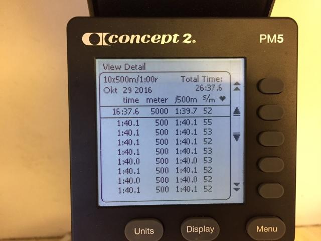 SkiErg-intervaller 10 st 500 m med 1 min vila, del 1