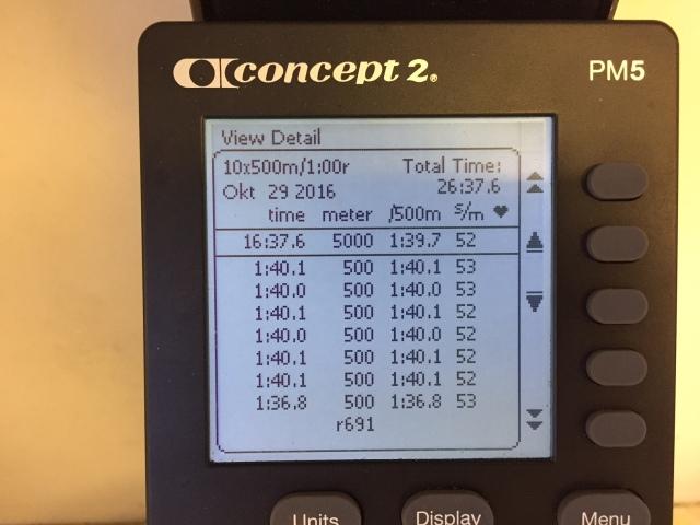 SkiErg-intervaller 10 st 500 m med 1 min vila, del 2