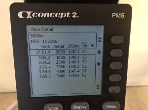 5000 m SkiErg på 17.51 min. Motstånd 10. 27 s från max. Jag har kört mycket SkiErg. Är man ny i gemet rekommenderar jag inte motstånd 10. Då tar lätt musklerna slut innan flåset.