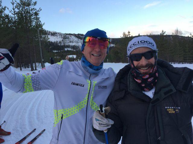 """Svein Olav Stølen och Mattias Nygren. Svein har stark hela helgen och gjorde stora framsteg med tekniken. Dessutom stakade han 14 km-loppet, hans första """"lopp"""" utan fästvalla. Nygren var som vanligt stark och träningsvillig, men föll i spurten mot X-on."""