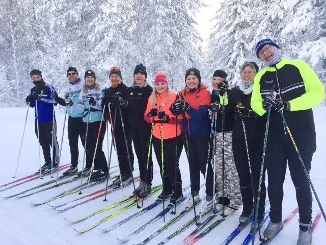 Skidlektion i Orsa Grönklitt med en av grupperna från Saab i Järfälla