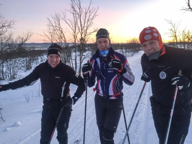 Hans, Kristian Poromaa och Mats på banan för Camp Ripan-loppet i Kiruna