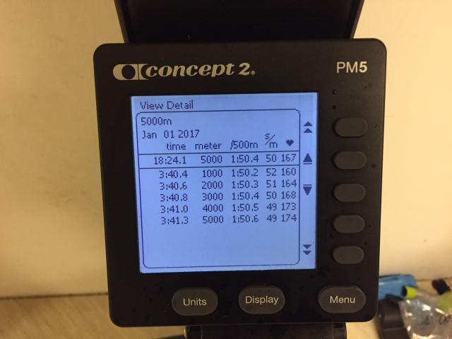 5000 m SkiErg på planerat 1 min över pers