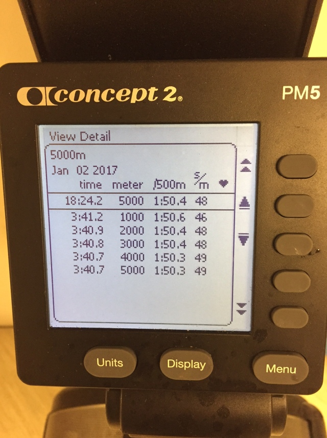 5000 m SkiErg på planerat 1 min över personbästa. Motstånd 6.