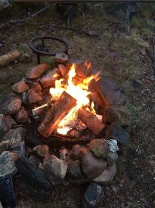 Det blir fortfarande ofta eldning när jag pappaledig. Igår var det lite styvt i +1 grader, regn och blåst. Korven var i alla fall hyfsat varm.