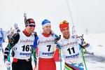 Johan Kanto, Emil Ekman och Rickard Bergengren före starten av Borås Ski Maraton 2017