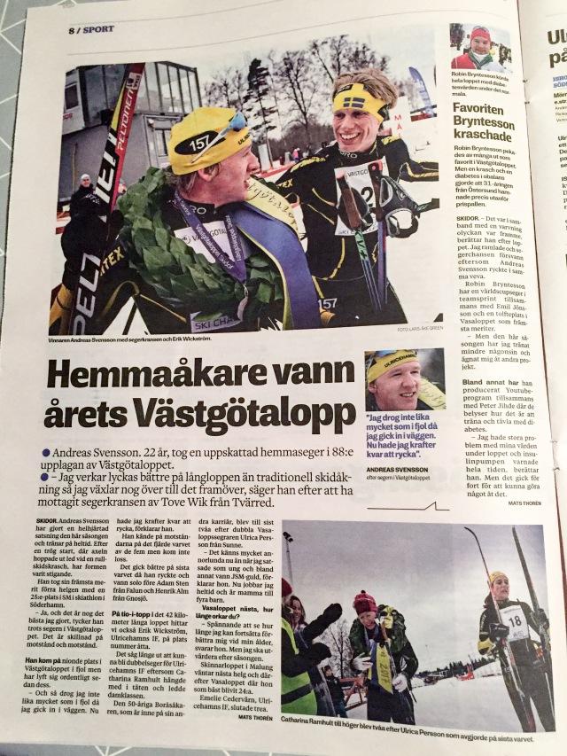 Borås Tidning om Västgötaloppet 2017, från 13 februari. Klicka på bilden så blir det lättare att läsa.