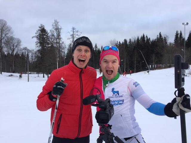 Robin Bryntesson och Erik Wickström på Borås skidstadion