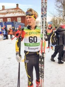 Erik Wickström efter målgång i Vasaloppet 2017