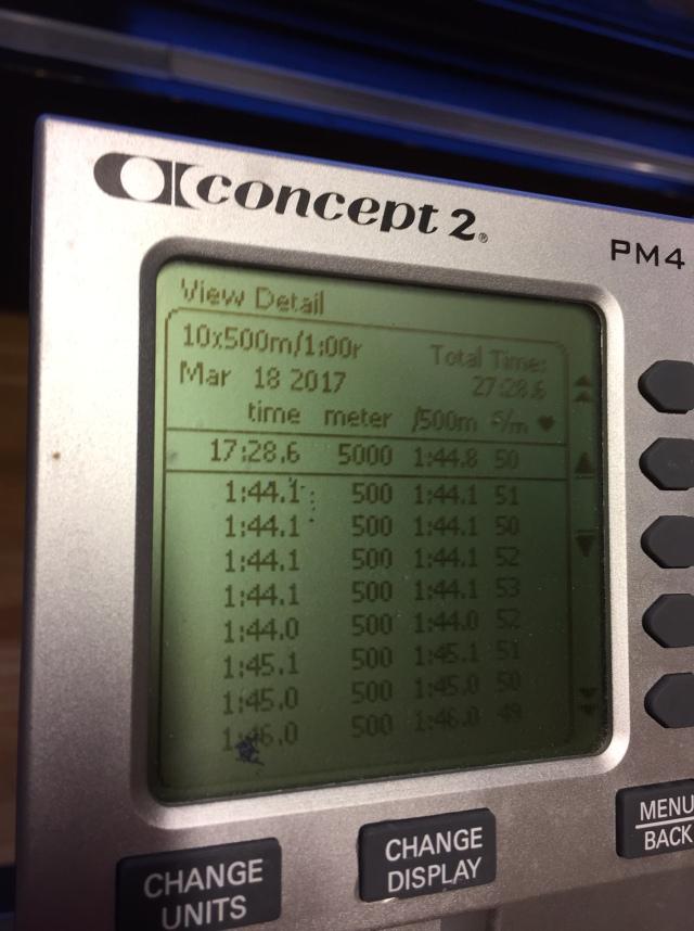 Här syns 8 av 10 tider på SkiErg 10 st 500 m med 1 min vila på PM4 fristående. Började fint med 1:44.1 på de första, men kroknade totalt. Nästa sista intervaller var den värsta då det tog 1:47.1, sedan kunde jag spurta lite på sista.