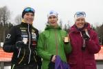 Anna-Karin Jonsson, Lena Hilmersson och Carin Serrander. Pallen i D45.