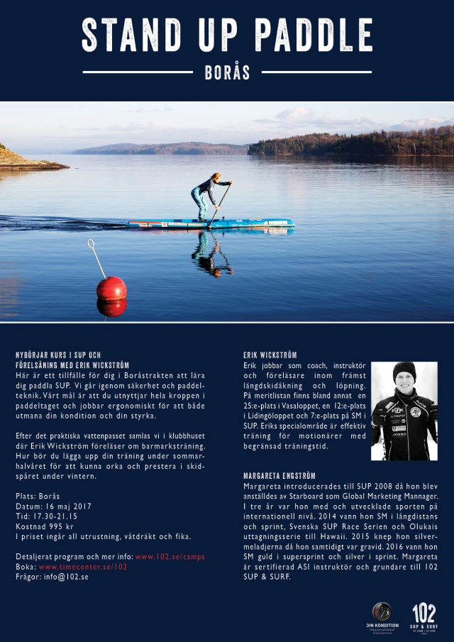 Nybörjarkurs i stående paddling Borås tis 16 maj 2017.