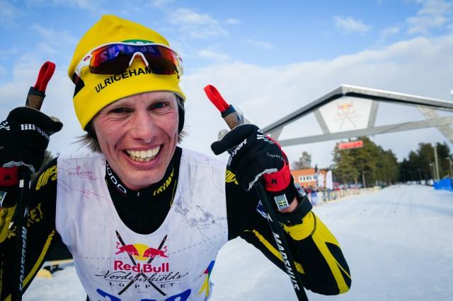 Erik Wickström efter målgång i Nordenskiöldsloppet 2017. Foto: Magnus Östh.