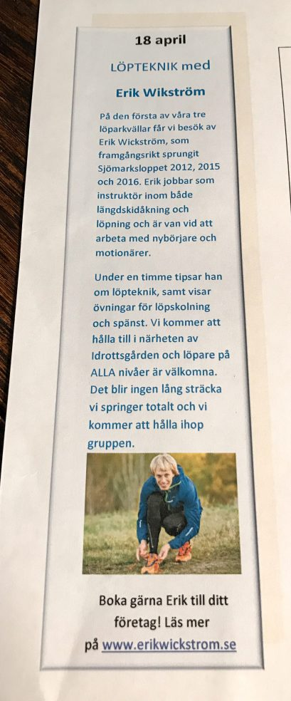 Sjömarksloppet 2017. Löparkväll 18 april.