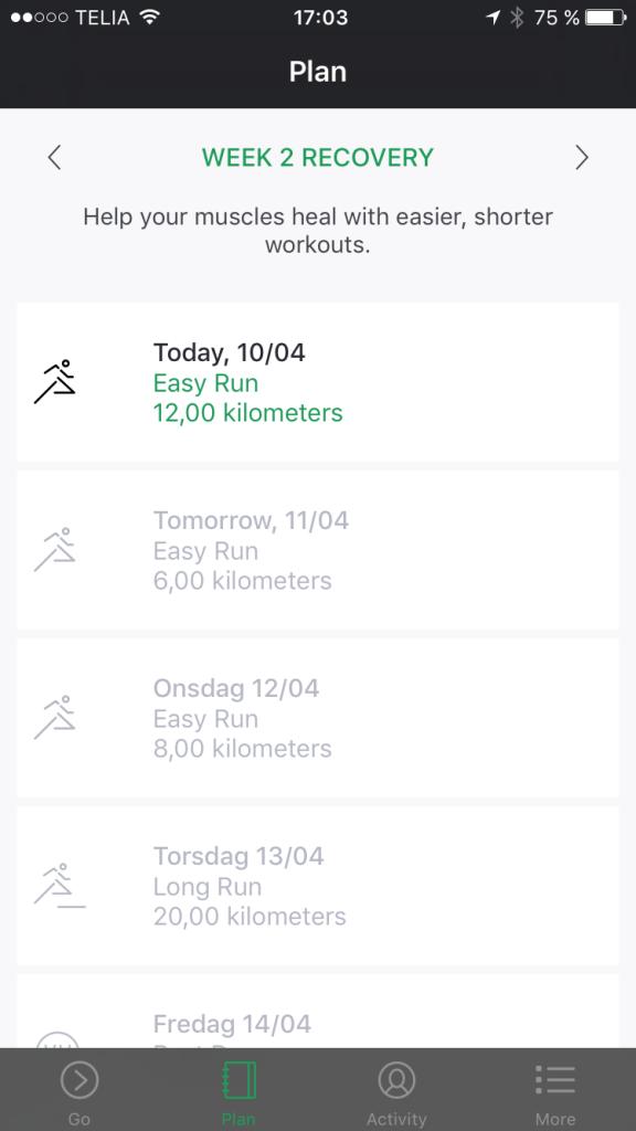Oakley Radar Pace app. Träningsprogrammet jag fick efter att ha matat in mina värden.