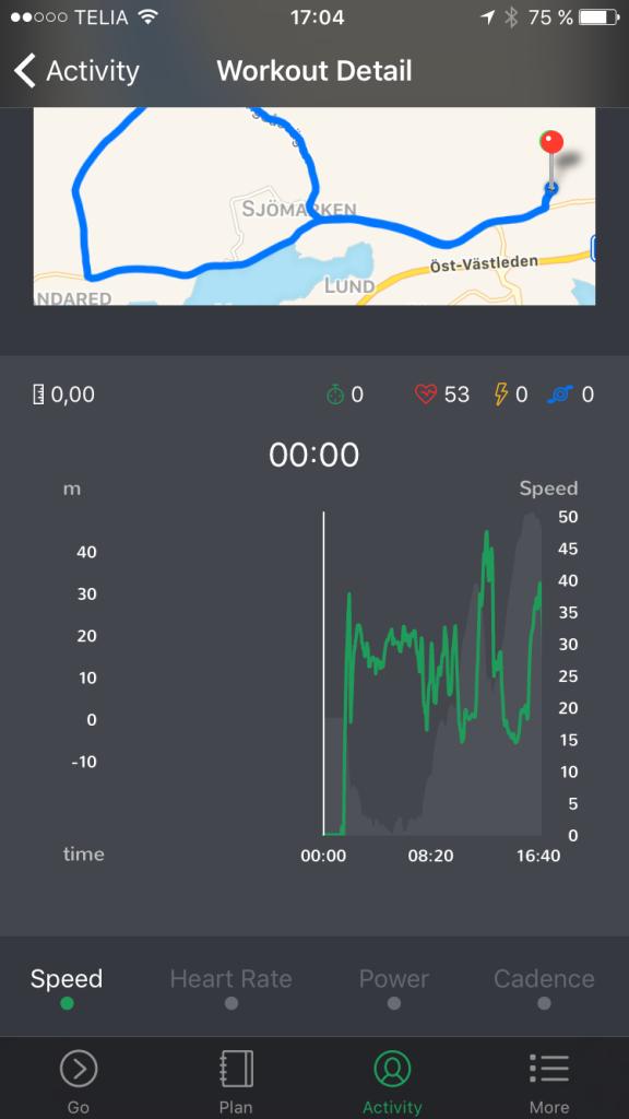 Oakley Radar Pace app. Data från cykelpass. Här ser man att det går att koppla på effekt och kadens. Jag lyckades inte se medelpuls någonstans.