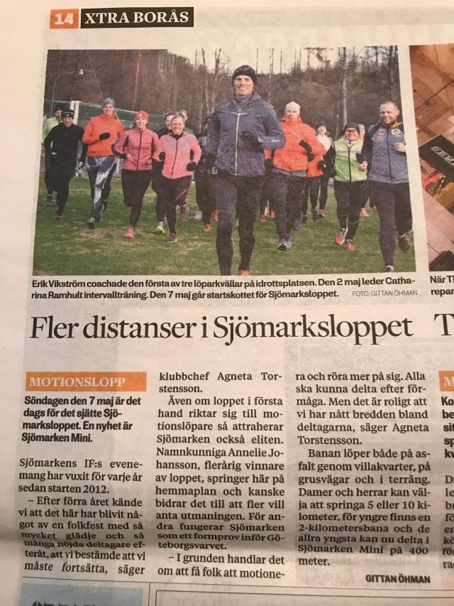 Xtra Borås aprilnummer. Text och bild om Sjömarksloppet. Bilden från när jag ledde en löparkväll.