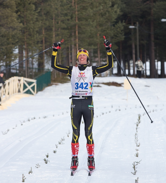 Erik Wickström målgång Nordenskiöldsloppet 2017. Foto: Jonas Vannar.