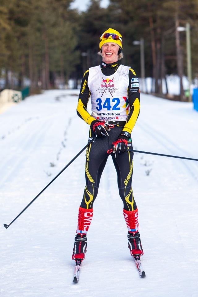 Erik Wickström målgång Nordenskiöldsloppet 2017. Foto: Nordenskiöldsloppet.
