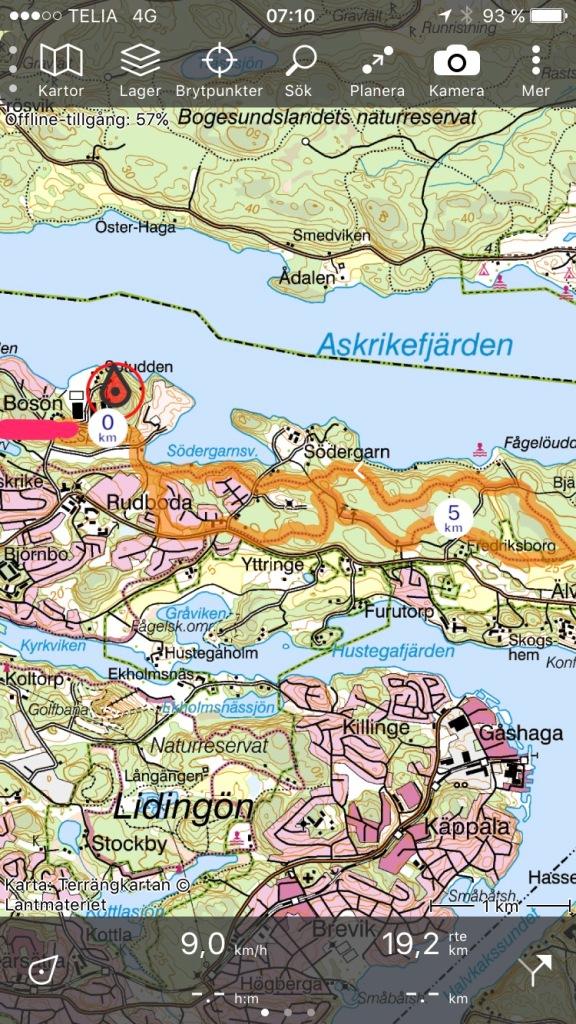 """Lidingöloppets 10 km-spår. Jag testade appen """"Topo GPS"""", som ritar in rutten på Gröna kartan. Helt klart värt 39 kr för hela Sverige."""