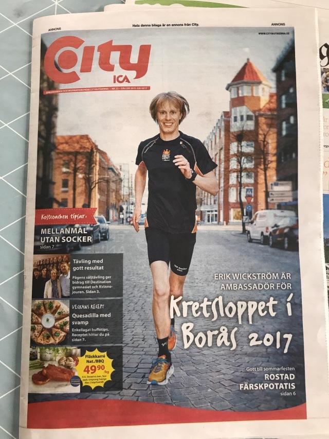 Citybladet 29 maj 2017. Erik Wickström springer som omslag.
