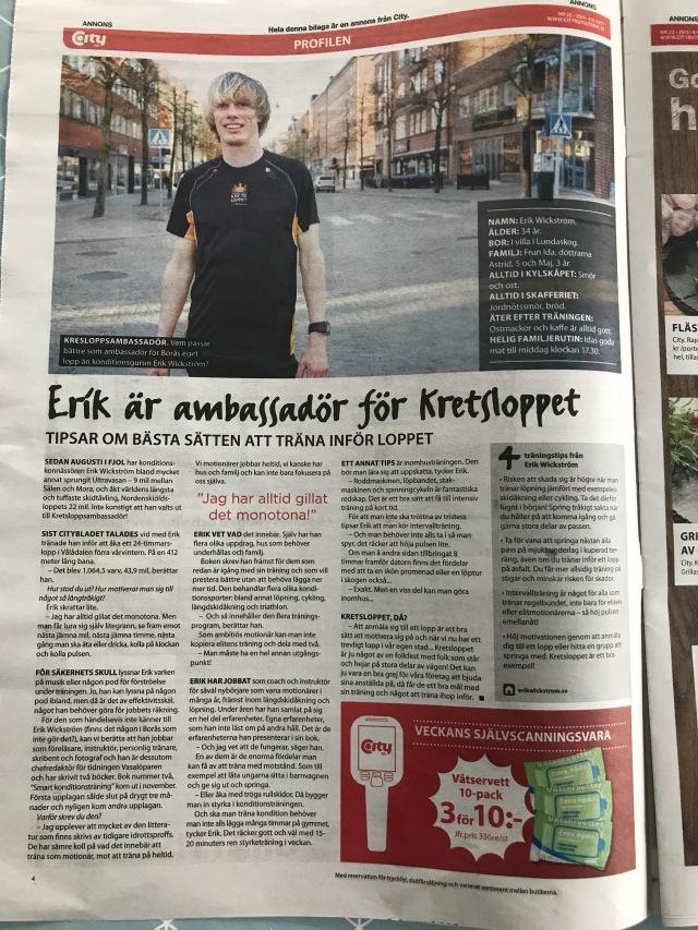Citybladet 29 maj 2017. Intervju med Erik Wickström.