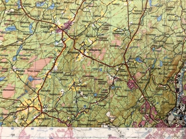 Gröna kartan över bl a Backabo, Sandhult, Götsered, Ebbared, Ekås och Hestra