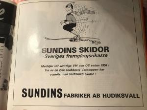 Reklam för Sundins skidor i bok om Thomas Magnuson