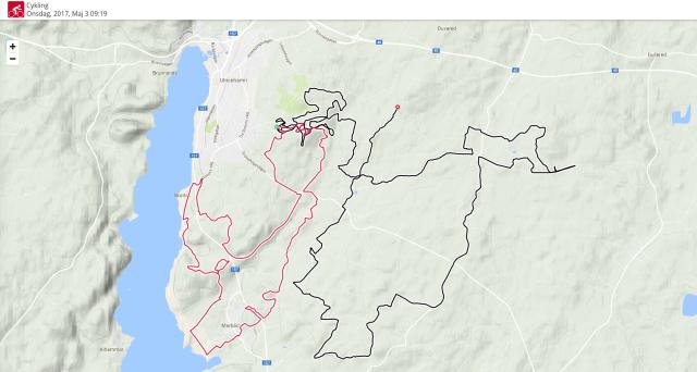 Västgötaloppet Cykel 2017 karta första 72,5 km. Sedan tog batteriet slut (nybörjarmiss att inte ladda).