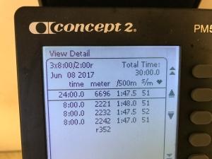 3 st progressiva 8 min-intervaller på SkiErg med 2 min vila på motstånd 10. Hoppas klara åtminstone 4 st nästa gång.